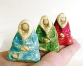 Meditating Colorful Monks or Wise Ones Minimalist Tiny Sculpture Ceramic Miniature Figurative Art