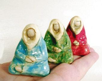 Meditating Colorful Monks or Wise Ones Minimalist Tiny Sculpture Ceramic Miniature Figurative Art