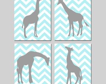Chevron Giraffe Nursery Art Quad - Set of Four 8x10 Prints - Kids Wall Art - CHOOSE YOUR COLORS - Pale Aqua, Gray and More