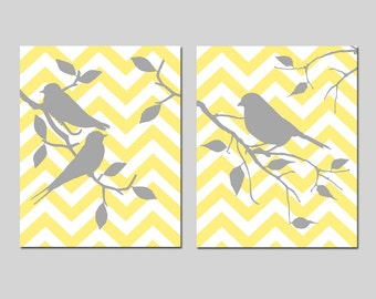 Chevron Bird Art Chevron Bird Decor Chevron Bird Prints Yellow and Grey Art Bird Wall Art Modern Bird Art Yellow Gray - CHOOSE YOUR COLORS