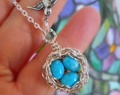 Bird Nest Necklace 3 Three Turquoise Eggs  in Sterling Silver Mama Bird Wire Wrapped Sterling Mothers Day Grandmother Gift Spring Baby