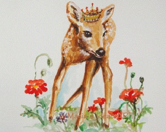 Original Deer painting, Fawn panting, Deer with Crown, watercolor wildlife, 8x10 OOAK Watercolor painting
