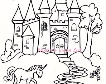 Coloring Pages Castle Art For Kids Princess Page Digitial Download