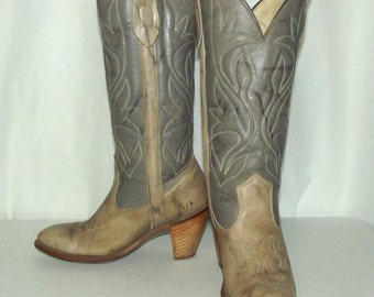 Two tone grey womens cowboy boots Capezio brand size 6 M -cowgirl western