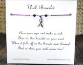 Awareness Ribbon - Wish Bracelet - Shown In PURPLE - Over 100 Different Colors Are Also Available