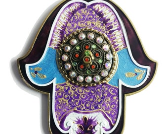 Hamsa   Evil eye handmade Swarovski crystal Unique Gift Israel