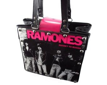 Ramones Handbag Retro Vinyl Record Repurpose