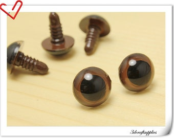 18 mm  Brown Safety eye amigurumi eye doll eyes cat eye 12 pieces  EA19
