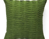 Dark Olive Green Pleated pillow - 16 inches art silk decorative throw pillow, 2 in stock ready to ship.