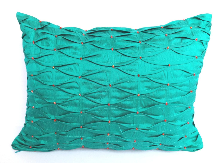 Jade Green Throw Pillow : Jade Green silk oblong throw pillow with pintucks and orange