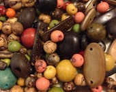 100 Pieces Of Mixed Size And Color Brazil Acai, Coconut, Wooden, Seed Beads