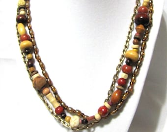 Earthy Neutral Colors Triple Strand Handmade Necklace