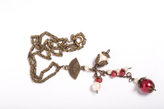 Regal Red and Cream Vintage Style Necklace with Czech Glass Pearls and Antique Bronze Accents