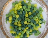 Itty Bitty Pretty Round Circle Mosaic Pieces Green and Yellow Mix Stained Glass Round Circles Mosaic Tiles Green and Yellow Tiles 7-8mm