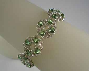 More Colors - Reversible Swarovski Crystal Chain Maille Flower Bracelet
