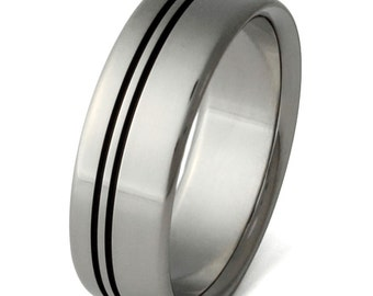 Black Titanium Wedding Band  - Two Black Stripes Ring - bk8