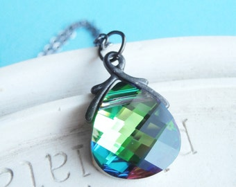 Swarovski Crystal Necklace - Green and Blue Flashing Teardrop on Gunmetal