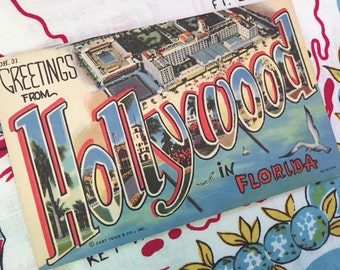 Vintage Hollywood Florida postcard Greetings from Hollywood large letter 1940s 1950s linen Floridiana