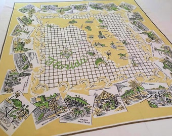 Vintage Florida tablecloth 1950s souvenir Floridiana map flamingos palm trees Miami Palm Beach gold yellow fishnet
