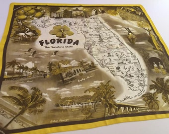 Vintage Florida map scarf with photographs -  tourist souvenir kitsch Floridiana 1940s 1950s flamingos palm trees