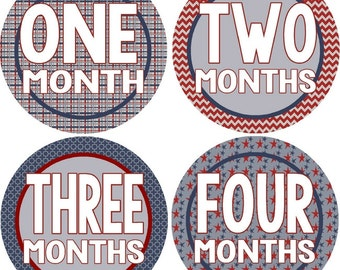 Monthly Bodysuit Baby Growth Stickers - Patriotic Boy - Milestones, Photo - Red, White, and Blue