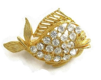Vintage Clear Pave Rhinestone Fish Brooch or Pin