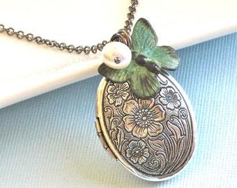 Locket Necklace -  Butterfly, Floral Design, Flower, Keepsake Jewelry, Silver Locket,  Oval Locket
