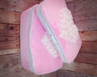 Pink chenille baby wipes case set of 2 pink minky wipe case chenille baby gift chiffon heart gift baby girl shower gift baby shower gift