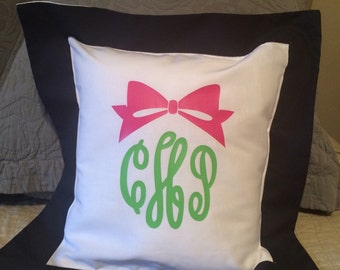 Monogrammed Bow Pillow