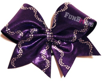 Wavy Edged Glitz Rhinestone Cheer Bow by FunBows  - Amazing !