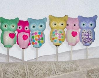 Chocolate Owl Lollipops  baby first birthday