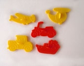 5 Vintage Transportation Cookie Cutters Set Car Helicopter Boat Motorcycle Airplane Boys Birthday Party Wilton