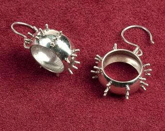 Victorian Industrial Revolution Steam Punk Hoop Earrings in Sterling Silver