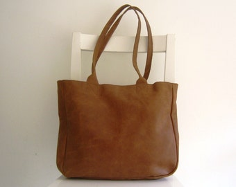 Brown Distressed  Genuine Leather Tote Shoulder Bag