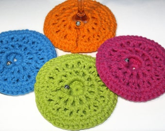 Wine Glass Coasters - Wine, Cotton, Beverage, Crocheted, Custom, Round, Bar Drinkware, Kitchen, Made to Order, Your CHOICE OF COLORS