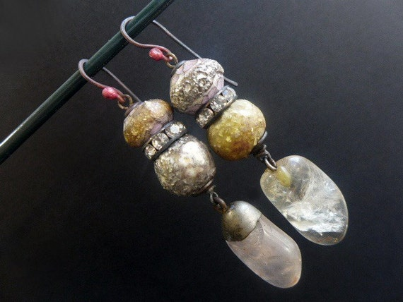 The Lover. Rustic assemblage earrings with rose quartz, art beads in shades of white.