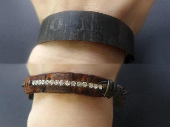 Measure of Darkness. Rustic assemblage bracelet with steel ruler and rhinestones.