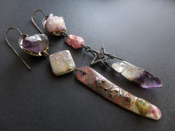 Dulcinea. Rustic assemblage asymmetrical earrings in violet, lilac and pink with amethyst, pearl, ruby.