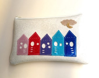 Zipper Pouch - Glitter Painted Ladies - Lined