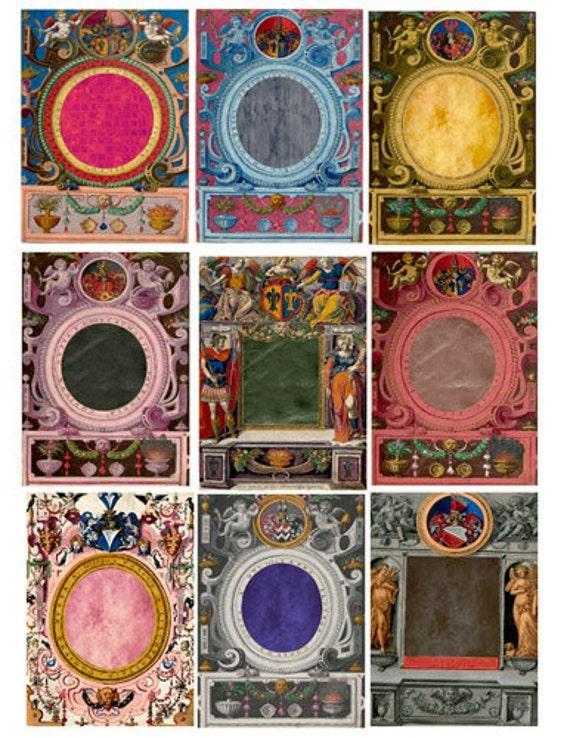 ornamental picture frames angels cherubs Digital Collage Sheet Printable graphics images Vintage Paper scrapbook ephemera
