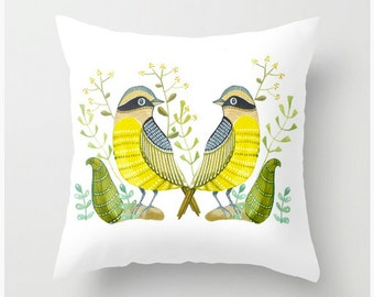 Pillow cover,throw with birds and leaves, decorative pillow
