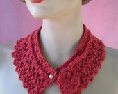 Hand Knit Lace Applique Collar Necklace Retro Style Vintage Inspired Romantic Spring Knit Accessory from Textilesone Ready to Ship