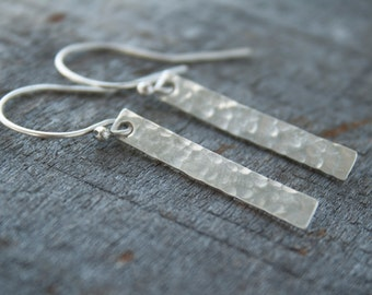 Simple Silver Earrings - Minimal Earrings - Silver Bar Earrings - Minimalist  Earrings - Hammered Earrings - Gift Under 30