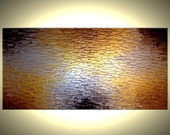 Gold Palette Knife Painting, Heavy Texture, Original Abstract Art, Reflective Metallic Bronze Large Painting - 24X48 - Lafferty Art - 2'x4'