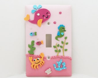 Under the Sea Light Switch Cover or Outlet Cover- Under the Sea Nursery Decor- Pink - Childrens Nautical Decor - Clay - Toggle or Rocker