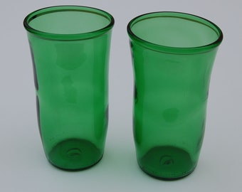Set of two Perrier Sparkling Natural Mineral Water Bottle Glasses