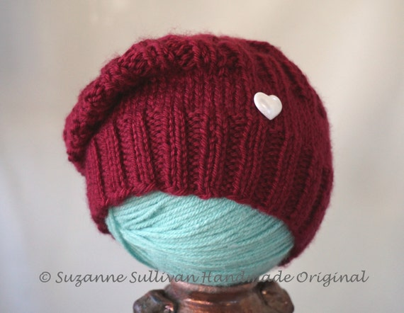 Baby Valentine Slouch Beanie, Deep Red Baby Slouch Hat,  Baby Valentine Photo Prop, Baby Shower Gift