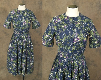 vintage 50s Dress - Midnight Blue Floral Dress - 1950s Day Dress Sz S M