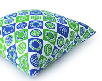 Blue Pillow Covers, Blue Green Pillows, Blue White Pillows, Blue Geometric Pillows, Diamonds, Squares, Circles, Playroom, 12x18, 18x18 SALE