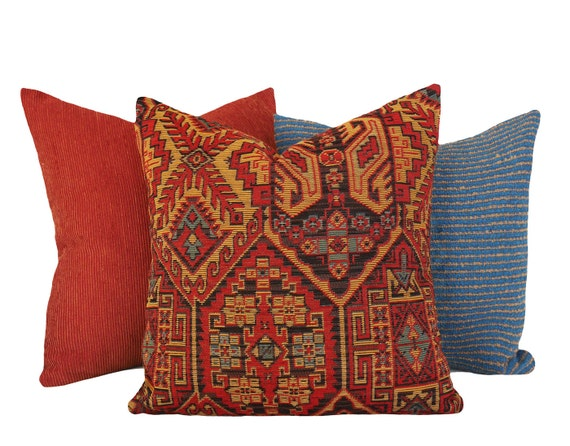 Red Southwestern Pillow : Rustic Southwestern Pillows Lodge Pillow Cover by PillowThrowDecor